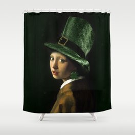 Girl With A Clover Earring Shower Curtain