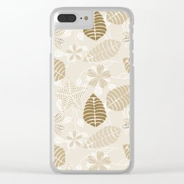Neutral Color Tropical Leaf Pattern Clear iPhone Case
