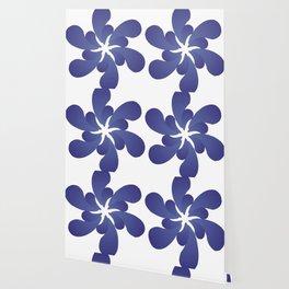 Indigo ombre six-petaled spiral flower Wallpaper