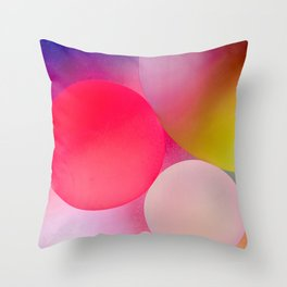 Multicolored Pastel Oil Bubble Water Drops Throw Pillow