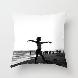 Vintage Surfer Girl   California Ocean Dancing on Huntington Beach Black and White Silhouette Throw Pillow