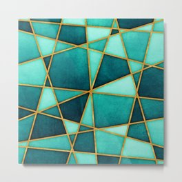 Aquamarine Watercolor Skewed Color Blocks Metal Print