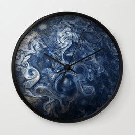 Swirling Blue Clouds of Planet Jupiter from Juno Cam Wall Clock