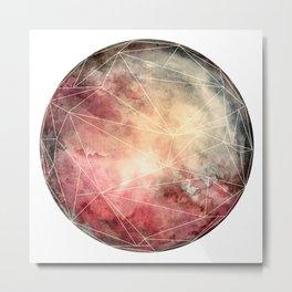 Prismatic Watercolor Planet Warm Metal Print