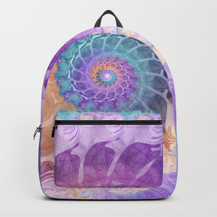 Painted Fractal Spiral in Turquoise, Purple, and Orange Backpack