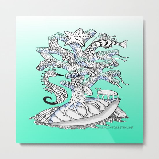 Zentangle Seahorse, Coral, Starfish Undersea Illustration Metal Print