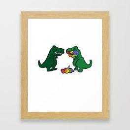 Was That The Last Unicorn? Maybe? Funny Dinosaur print Framed Art Print