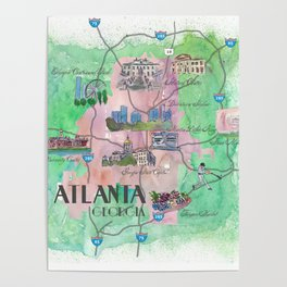 Atlanta Favorite Map with touristic Top Ten Highlights Poster