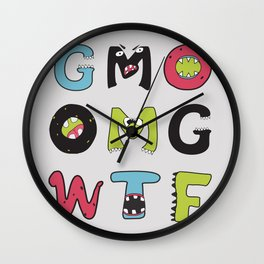 OMG GMO WTF - GMOnsters Anti Monsanto Art Print Wall Clock