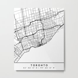 TORONTO CANADA BLACK CITY STREET MAP ART Metal Print