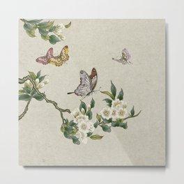 Pear flowers and butterflies type A - Minhwa : Koreafolkpainting Metal Print