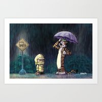 hobbes Art Prints featuring My Neighbor Hobbes by Josh Mauser