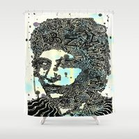 bob dylan Shower Curtains featuring Bob Dylan #2 by Travis Poston