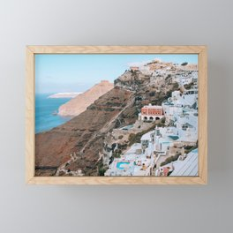 Whitewashed | Santorini, Greece Framed Mini Art Print