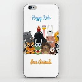 Happy kids love animals iPhone Skin