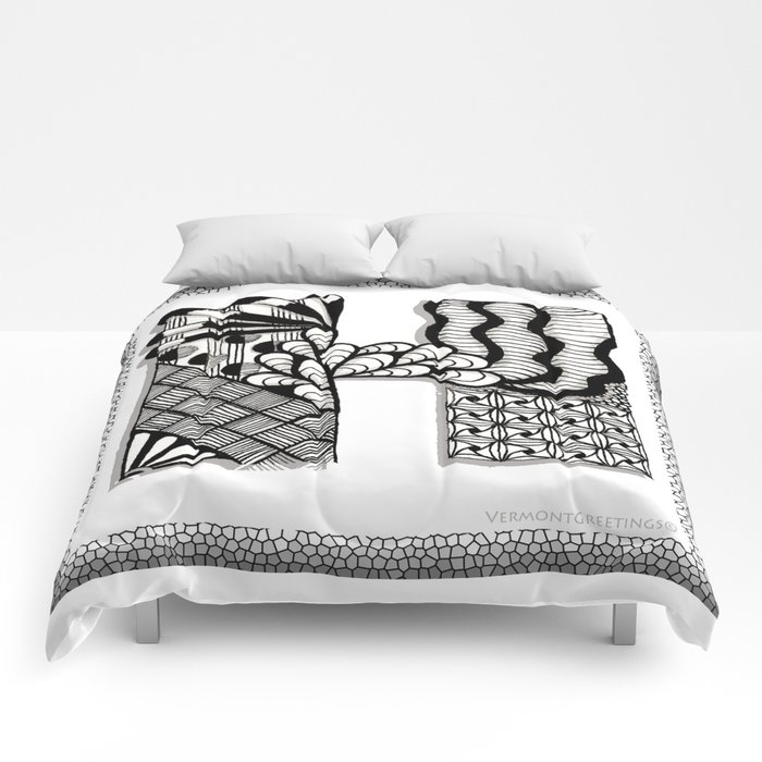 Zentangle H Monogram Alphabet Initials Comforters