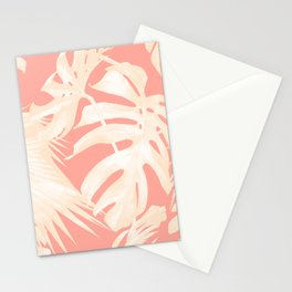 Tropical Coral Pink Palm Leaf Pattern Stationery Cards