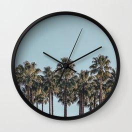 California Beach Vibes // Tropical Palm Trees Dusty Blue Sky Travel Photograph Wall Clock
