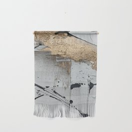Still: an abstract mixed media piece in black, white, and gold by Alyssa Hamilton Art Wall Hanging