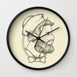 Old sailor wearing a bow tie Wall Clock