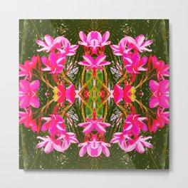 On Matlacha - Tropical Plumeria Leaves Flowers Pink Green Pattern Metal Print