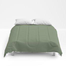 Solid Dark Camouflage Green Color Comforters