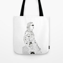 girl with record plastic bag Tote Bag