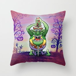 The Awkwardness of the Sword Swallower Throw Pillow