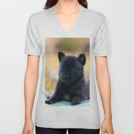 Cuter Herder Shepherd Puppy 4 weeks old Unisex V-Neck