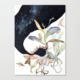 Space Psychedelic Orchids Moths Sky Black and White Canvas Print