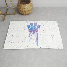 Watercolor Paw Print Rug