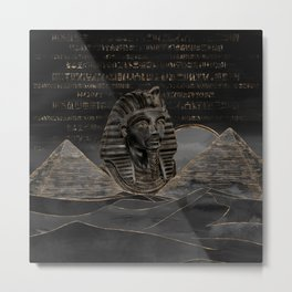 Tutankhamun on Egyptian pyramids landscape Metal Print