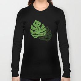 Linocut Monstera Leaf Pattern Long Sleeve T-shirt