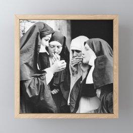 Smoking Nuns Framed Mini Art Print