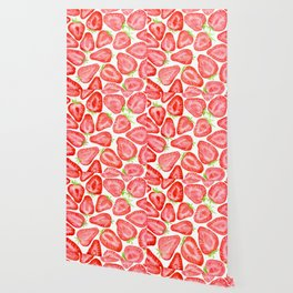 Watercolor strawberry slices pattern Wallpaper