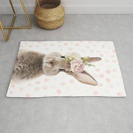 Foral Peek-a-boo Bunny Rug