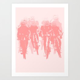 Cyclists in the sprint pink Art Print