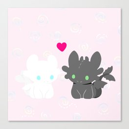 Light Fury & Night Fury LOVE Canvas Print