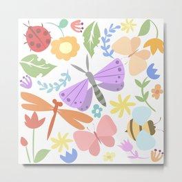 summer garden with butterflies Metal Print