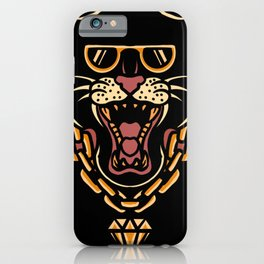 Rich panther with necklace cool tattoo style iPhone Case