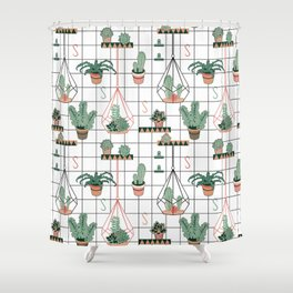 Modern Succulents Shower Curtain