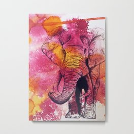 Bright Elephant Metal Print
