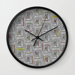Log Cabin Pattern Wall Clock