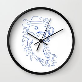 Detective Orca Killer Whale Drawing Wall Clock