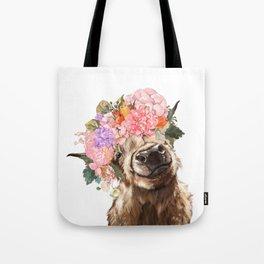 Highland Cow with Flower Crown Tote Bag