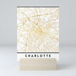 CHARLOTTE NORTH CAROLINA CITY STREET MAP ART Mini Art Print