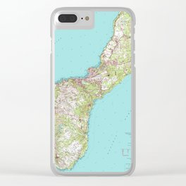 Vintage Topographical Map of Guam Clear iPhone Case