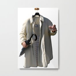 Raincoat of an invisible man with umbrella and watter glass Metal Print