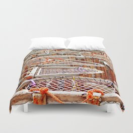 Traditional Lobster Traps Duvet Cover