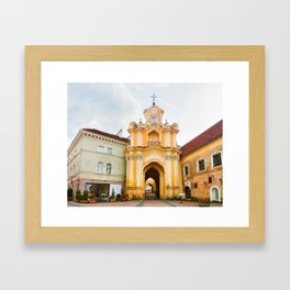 Ancient Basilian gate at the Old city in Vilnius Framed Art Print